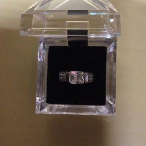 Silver and diamonique ring 7